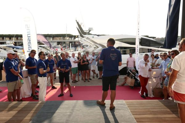 Participants gathered outside the Sunseeker Mallorca office on the first day of the Sunseeker Owners Cruise