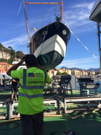 One of the Sunseeker's being successfully unloaded in Nice Port