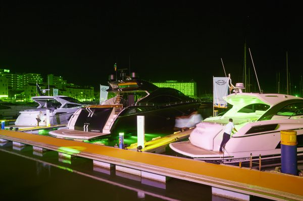 The Sunseeker San Remo, Sunseeker Predator 57 and a Sunseeker Predator 84 stunningly lit up for the party