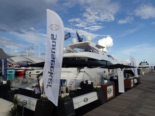 The Sunseeker 95 Yacht making her Italian debut at the Genoa Boat Show