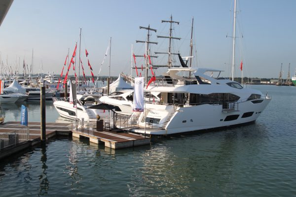 The Sunseeker 95 Yacht on the water, the largest boat on display at Southampton Boat Show