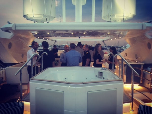 Guests on board the Sunseeker 116 Yacht for a private party
