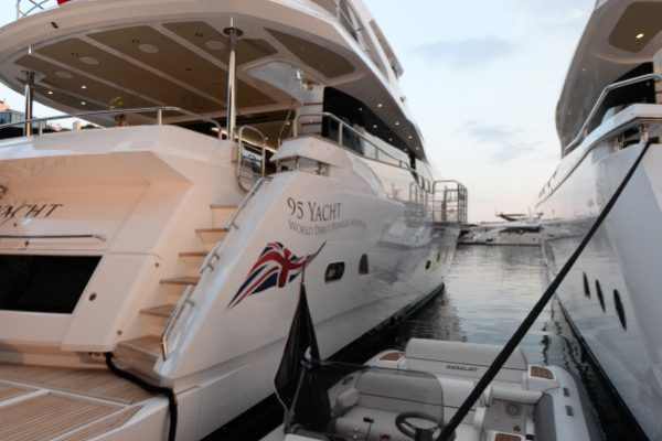The Sunseeker 95 Yacht making her world debut at the Cannes Yachting Festival