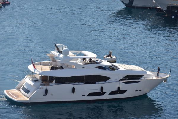 The stunning new Sunseeker 95 Yacht arriving in to Port Hercule. Photo Credit: Monaco Yacht Show