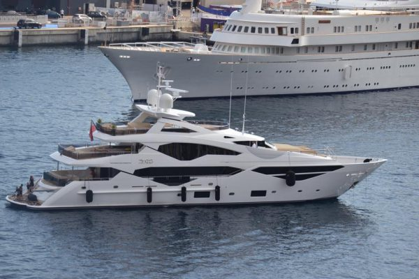ZOZO, the Sunseeker 131 Yacht arriving for the Monaco Yacht Show. Photo Credit: Monaco Yacht Show
