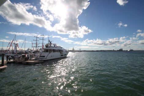The Sunseeker 95 Yacht making her UK debut at the Southampton Boat Show