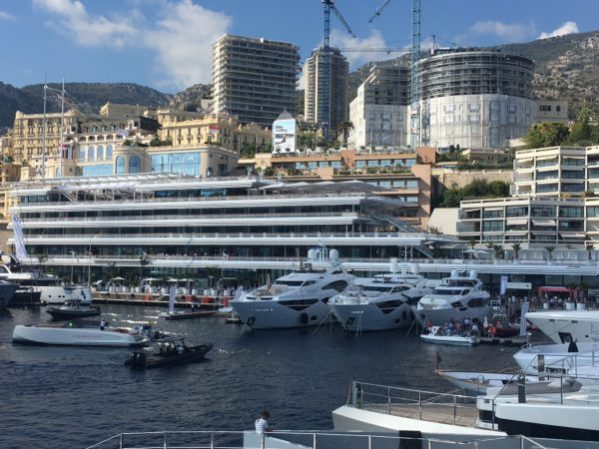 The Sunseeker 131 Yacht, 116 Yacht and 95 Yacht in the lee of the incredible Yacht Club de Monaco