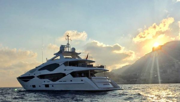 The Sunseeker 131 Yacht 'Jacozami' at anchor off Monaco. Available to charter in 2017.