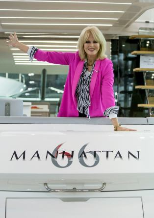 Joanna Lumley posing for the press on the brand new Manhattan 66