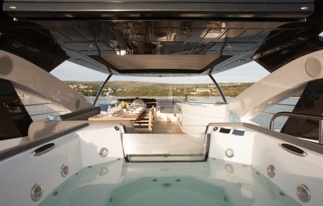 Fitted with a Jacuzzi, the 28M yacht has the perfect fly bridge to relax out in the sun on