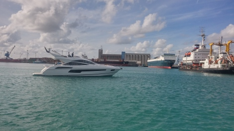 The sleek 68 Sport Yacht entering Limassol Marina ready to be with her new owner