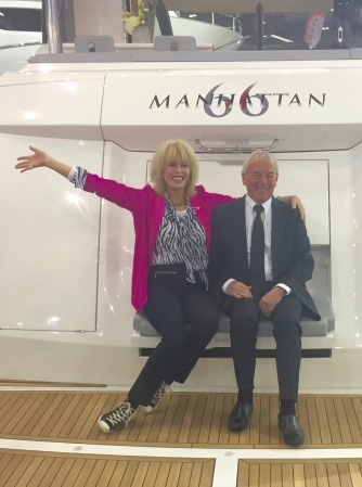 Joanna Lumley and Robert Braithwaite on the back of the brand new Manhattan 66