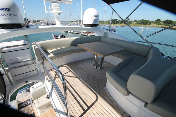 The fly bridge of 'OPTIONS' is the perfect area to relax on a sunny day out at sea