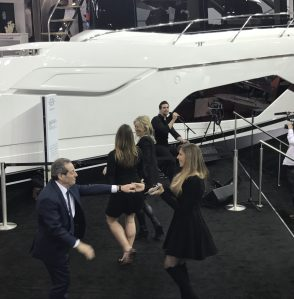 David and Alexis Lewis dancing on the Sunseeker Stand