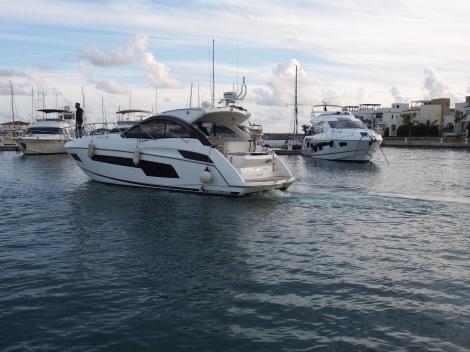 The Sunseeker Portofino 40 entering Limassol Marina
