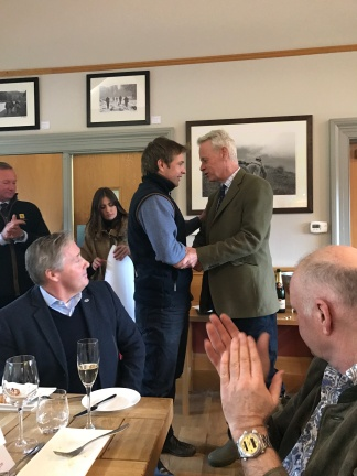 Dylan of The Royal Berkshire Shooting School congratualting Huw Stephens on his win