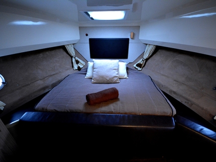 Forward master cabin with sizable and comfortable double berth.