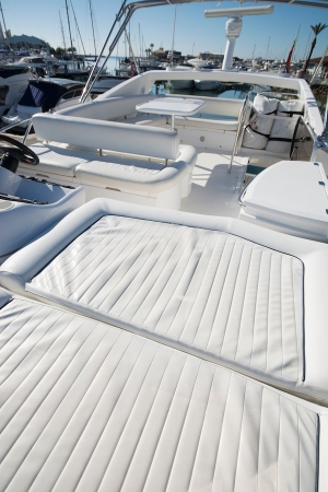 The flybridge on 'Imolyas' creates the perfect space whether your wish is to entertain or simply relax.