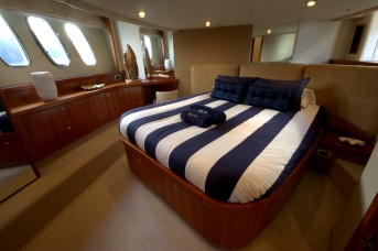 The sizeable master cabin boasts a large island berth and masses of stowage.