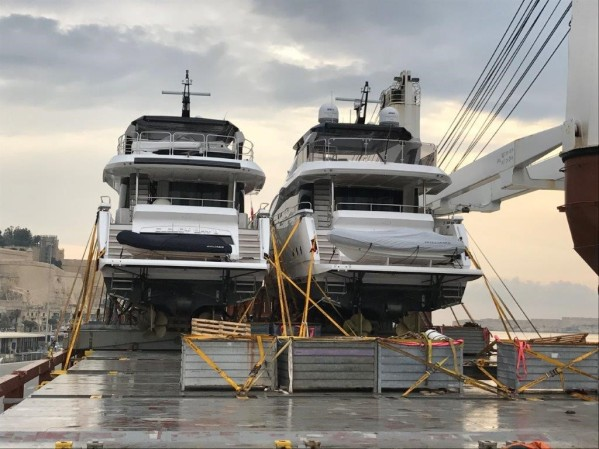 The Sunseeker 86 Yachts on the way to their new home