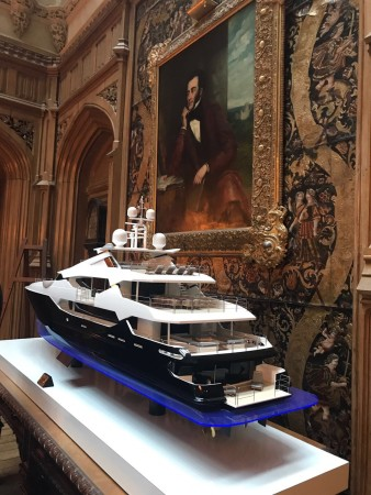 The stunning Sunseeker 155 Yacht model in Highclere Castle